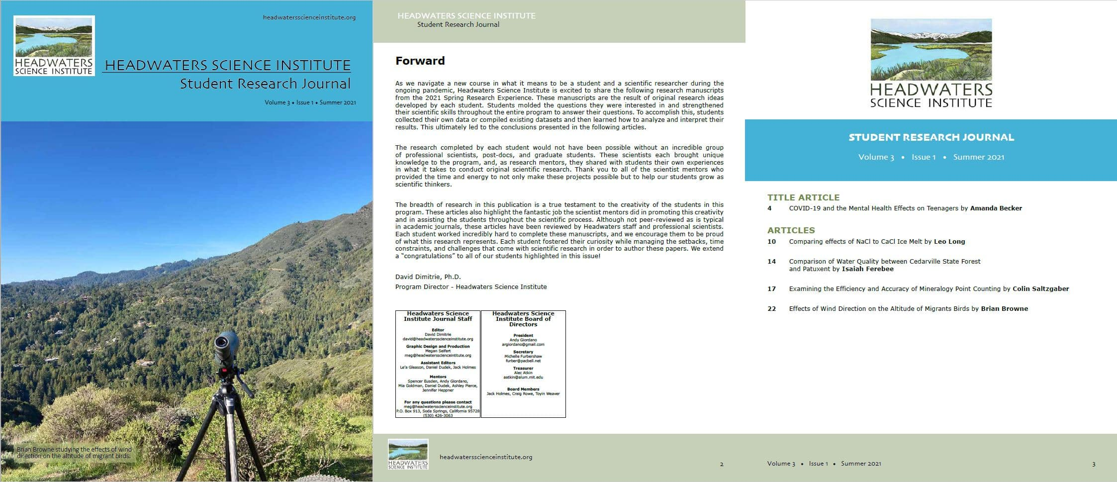 student research journal cover and table of content